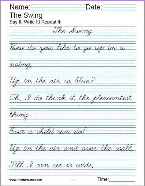 Printable Handwriting Worksheets ⭐ Manuscript And Cursive