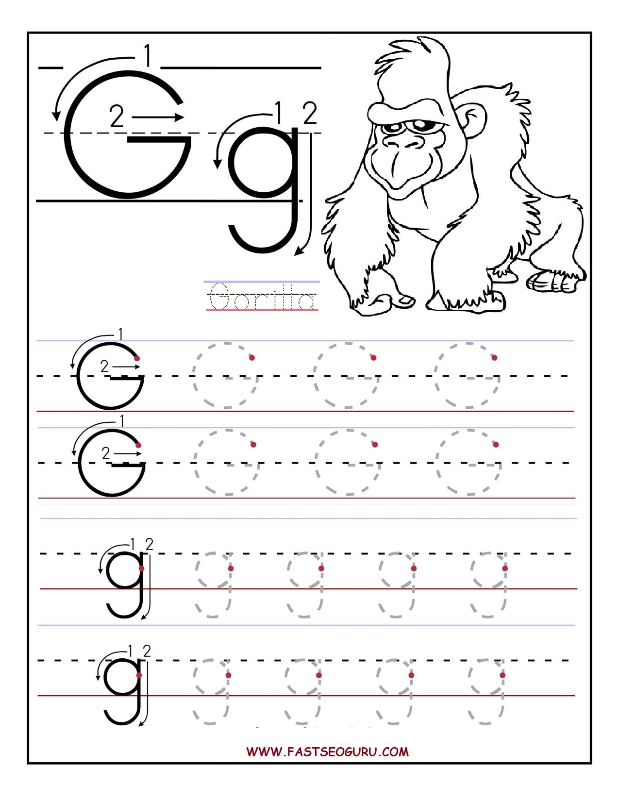 Printable Letter G Tracing Worksheets For Preschool, Preschool