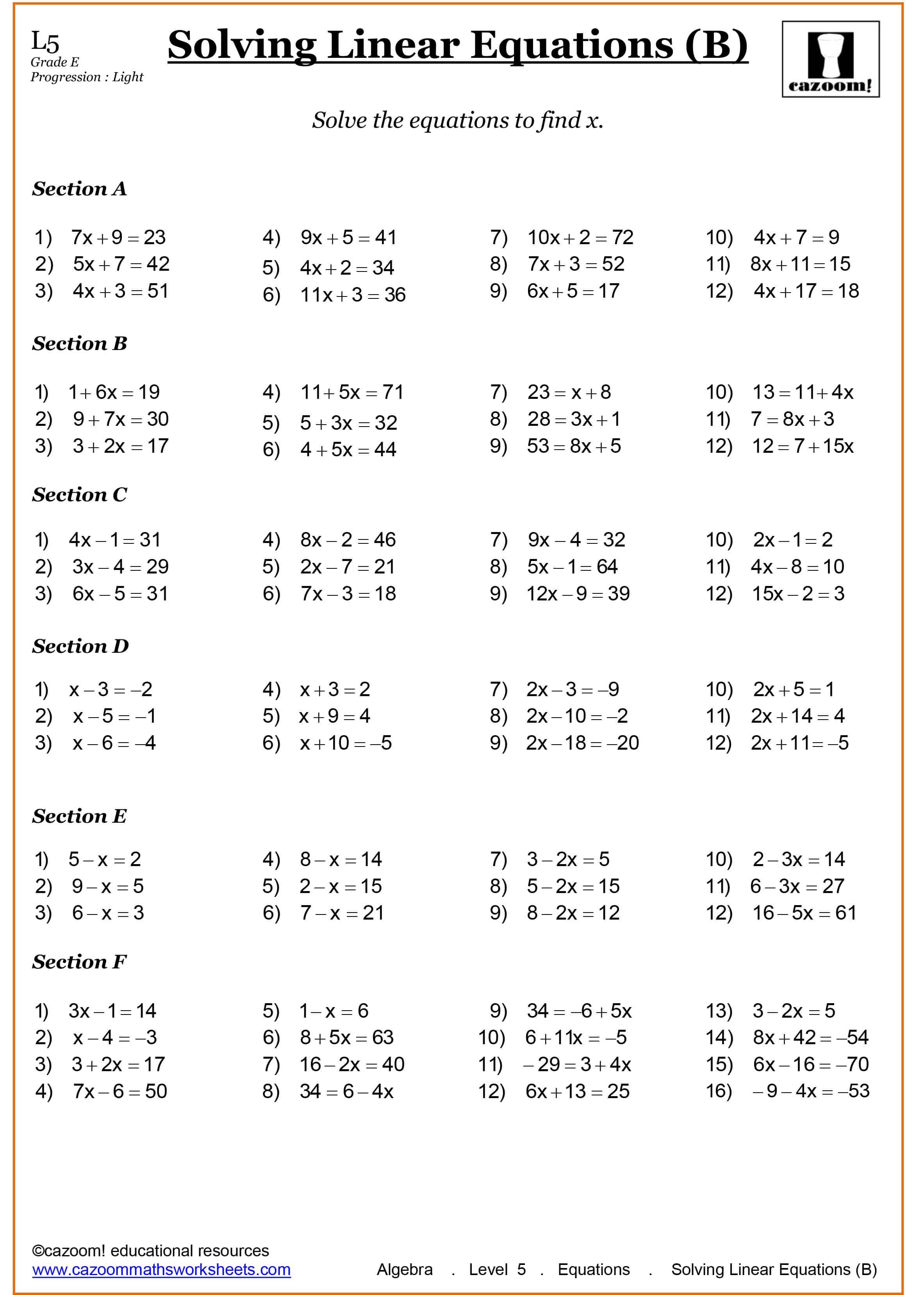 Printable Math Worksheet Grade 7 704887