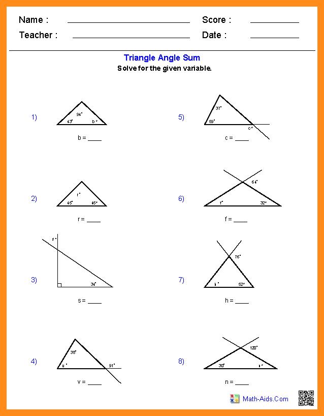 Printable Math Worksheets Exterior Angles 857477