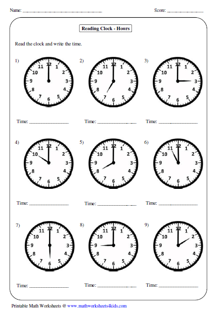 Printable Math Worksheets For Telling Time 488901
