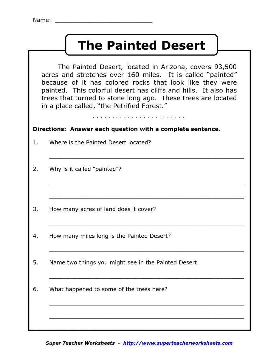 Printable Reading Comprehension Worksheet 56874