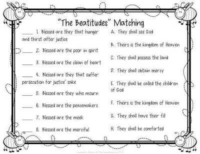 Printables  Beatitudes Worksheet  Lemonlilyfestival Worksheets
