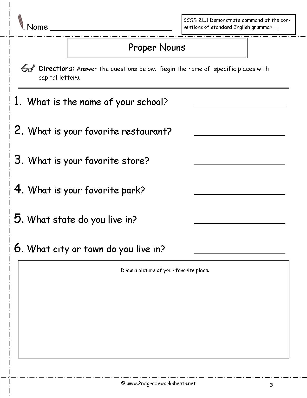 Printables  Proper And Common Nouns Worksheet