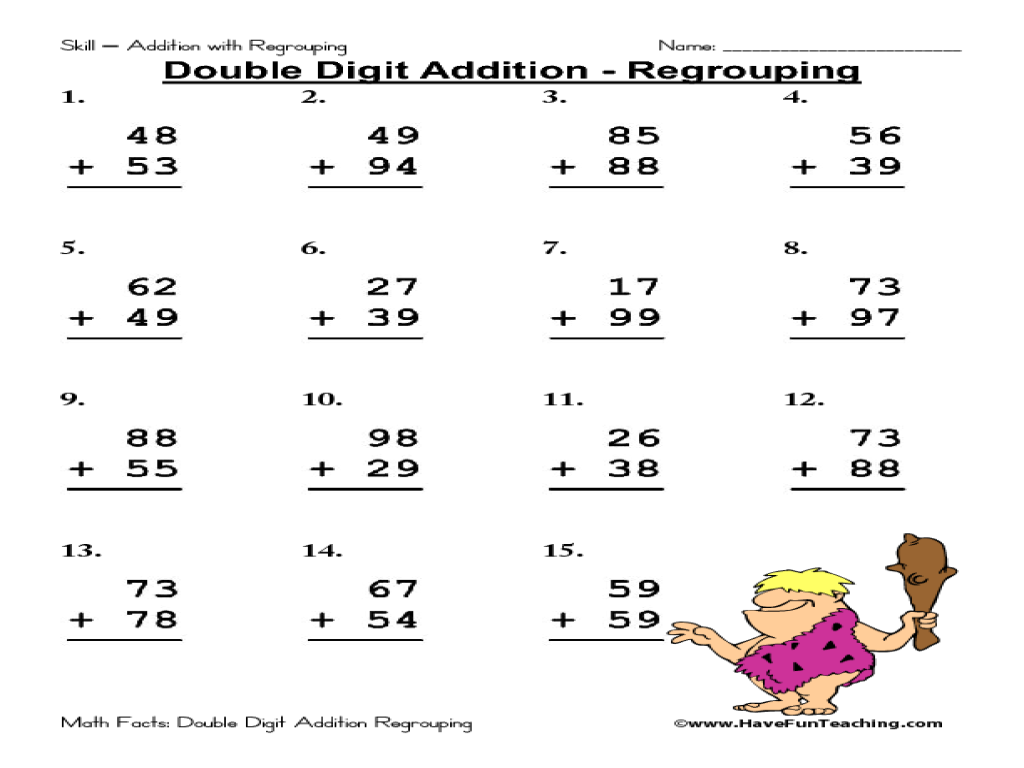 Printables Addition With Regrouping Worksheets 2nd Grade, 2 Digit
