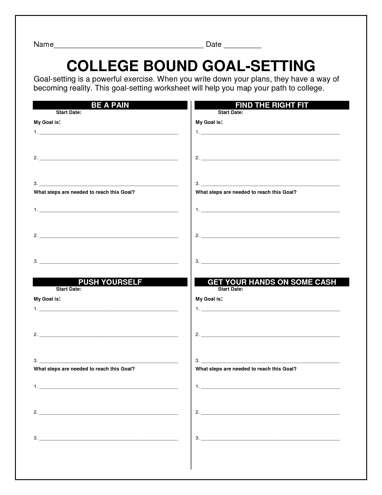 Printables Of Goal Setting For College Students Worksheet