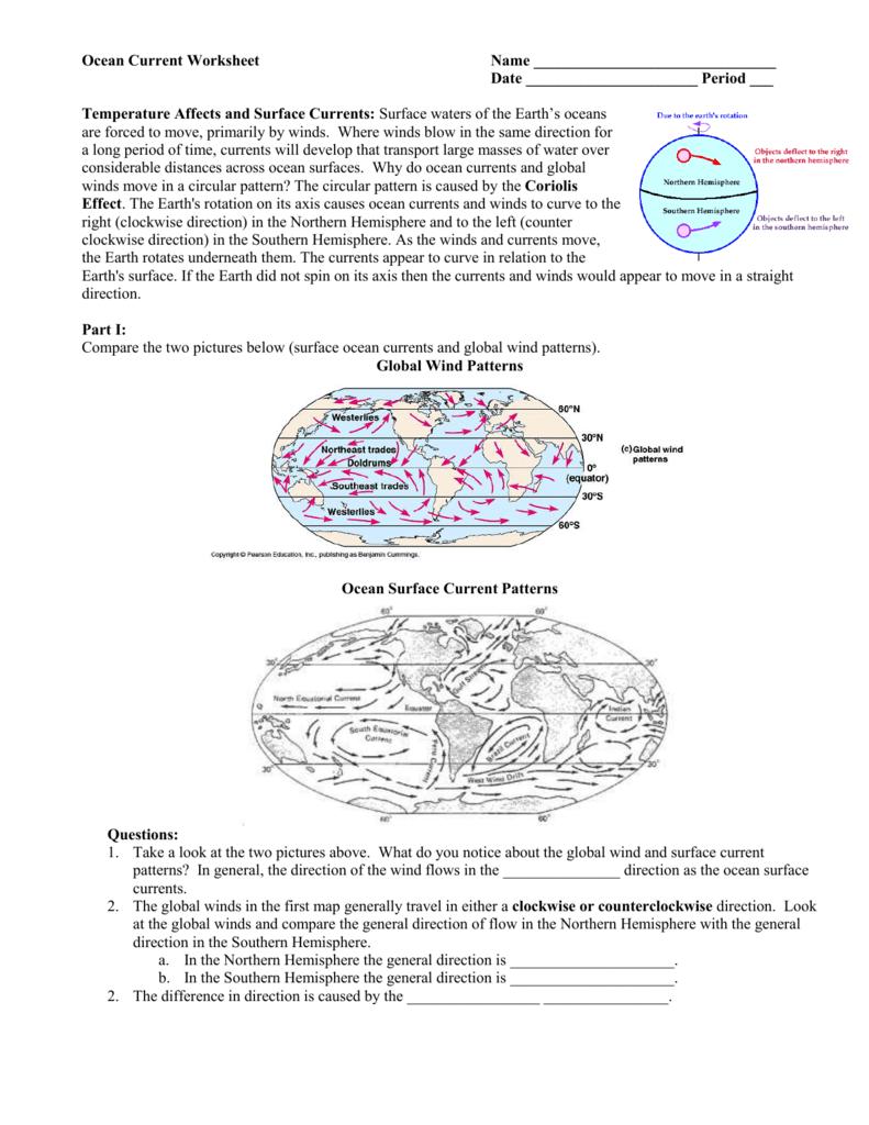 Printables Of Ocean Currents Worksheet Answers