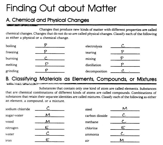 Pure Substances Vs Mixtures Worksheets
