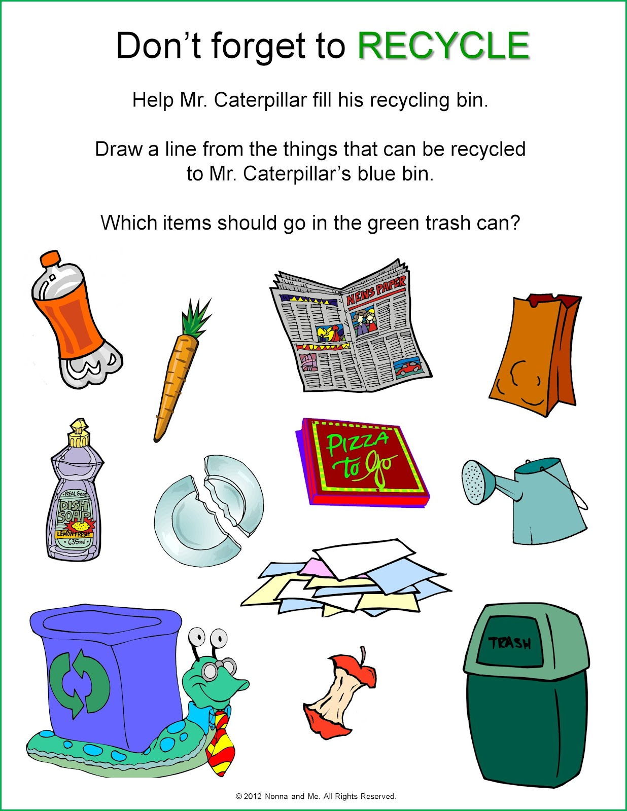 Recycling Worksheets For Kindergarten Free 228720
