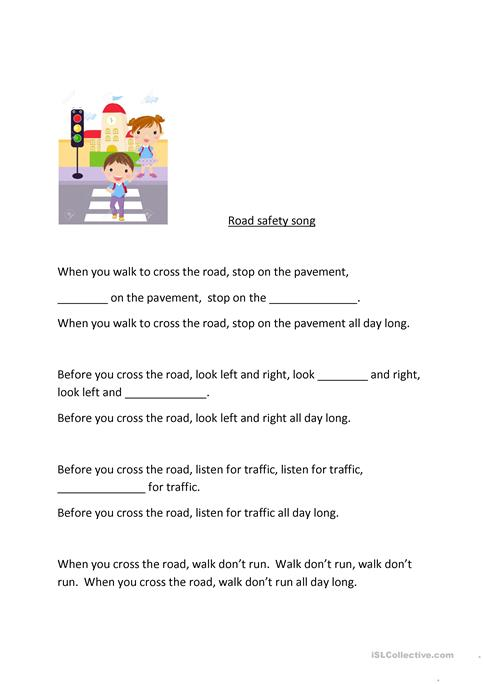 Road Safety Song Worksheet