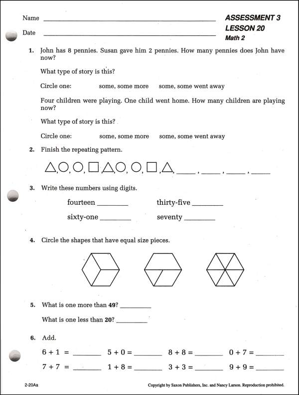 Saxon Math Worksheets For Second Grade