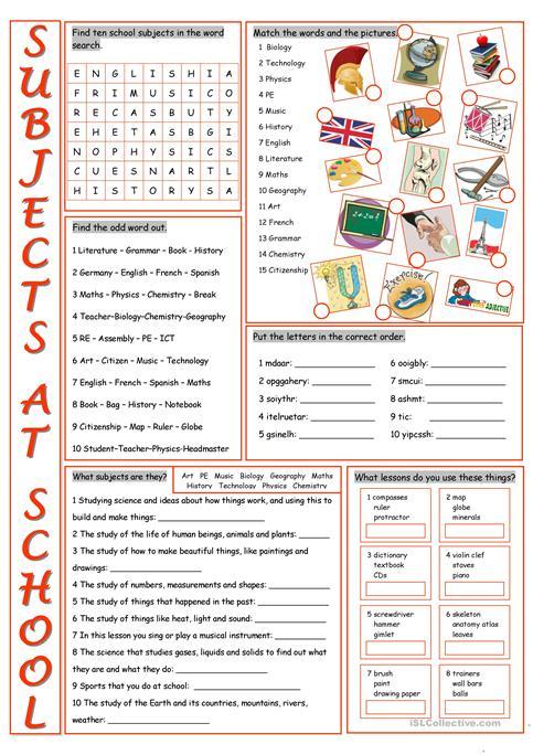 School Subjects Vocabulary Exercises Worksheet