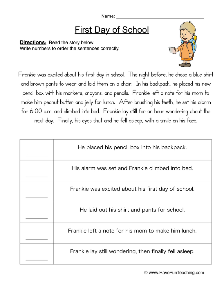 Sequencing Story Worksheets 290948