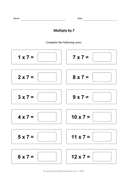 Seven Times Tables Practice Multiply 7 Quiz Worksheets 7