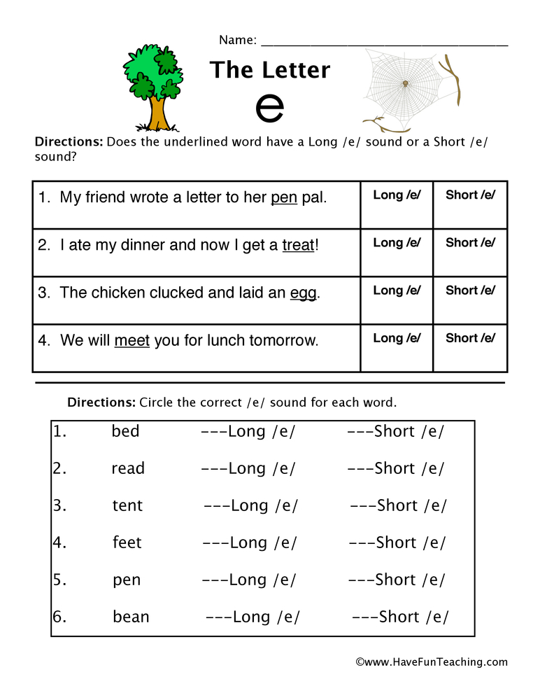 Short Vowel E Worksheets For Kindergarten 1207753
