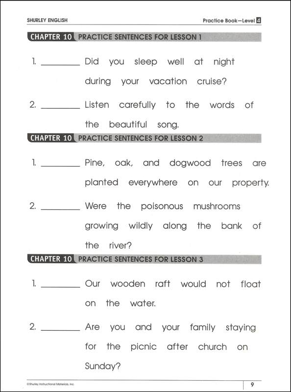 Shurley English Worksheets