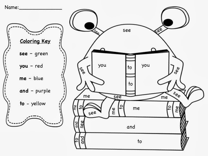 Sight Word Coloring Worksheets For Kindergarten 479115