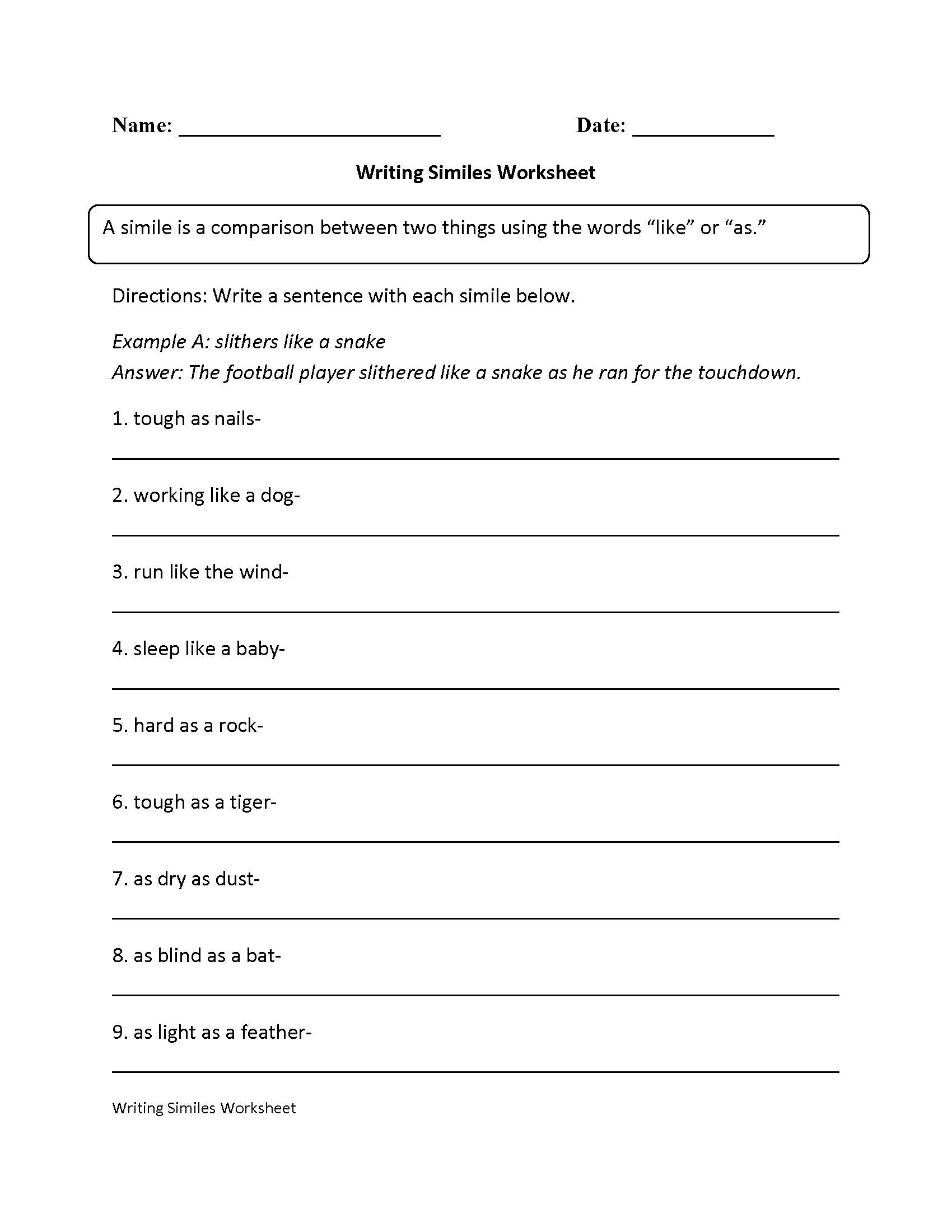 Simile Worksheets For Middle School The Best Worksheets Image