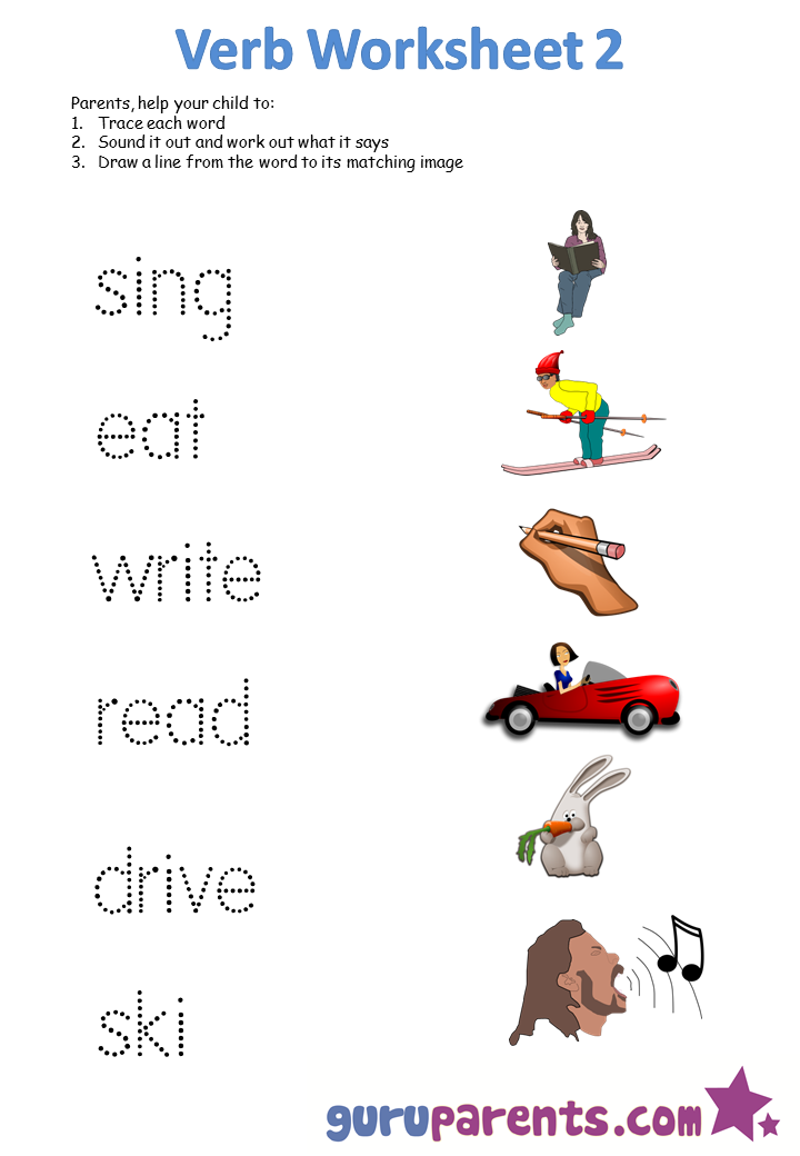 Simple Action Words Worksheets For Kindergarten 1258659