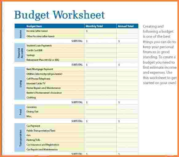 Simple Budget Worksheet 6 Basic Budget Spreadsheet Excel