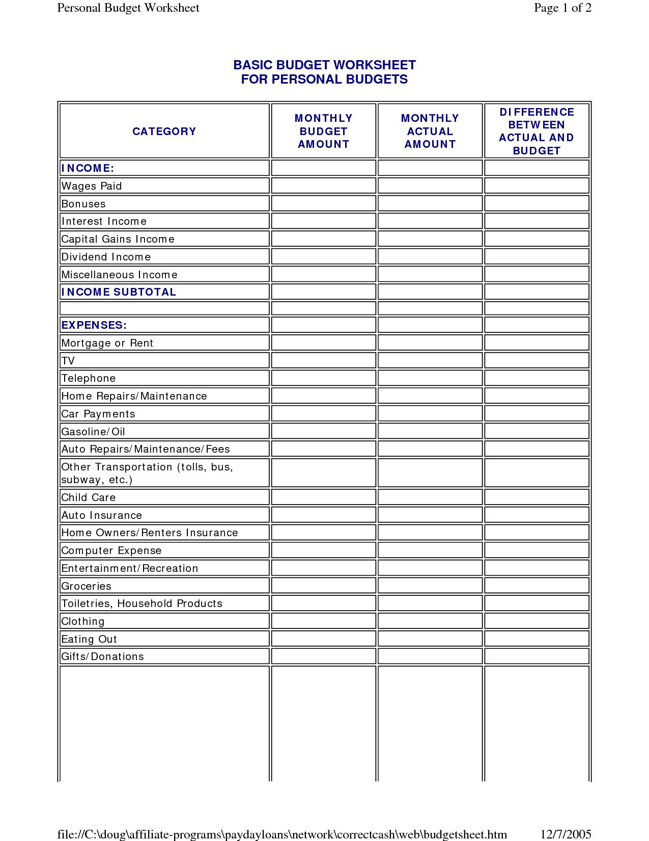 Simple Household Budget Worksheet 1458628