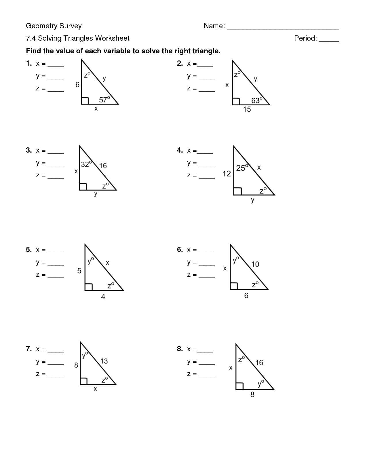 Solve Right Triangles Worksheet The Best Worksheets Image