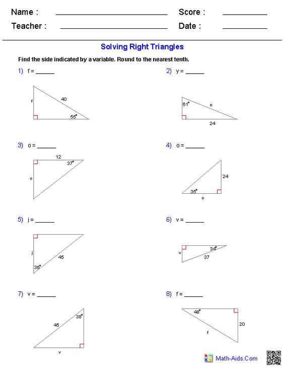 Solving Right Triangles Worksheet Lesson 8 3 1375695