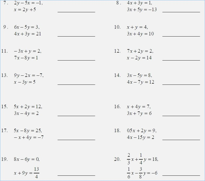 Solving Systems Of Equations By Substitution Worksheet Solving