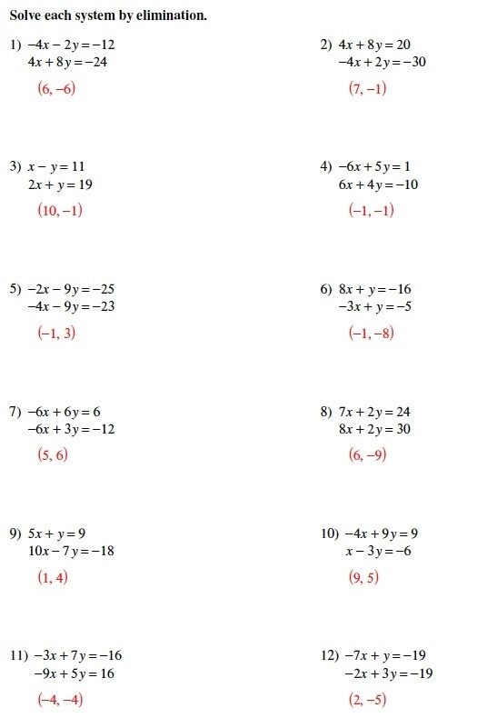 Solving Systems Of Equations Math Worksheets Go