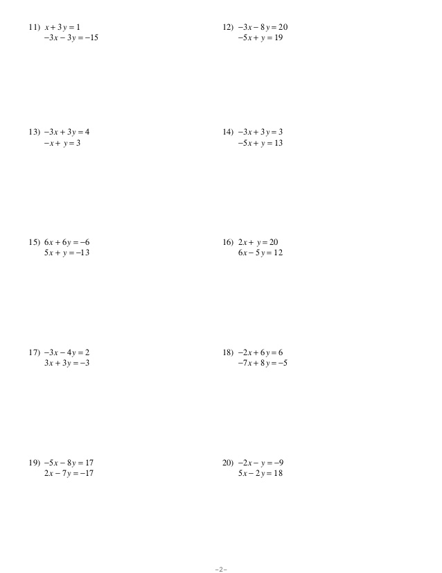 Solving Systems Of Equations Using Substitution Worksheet 1418130
