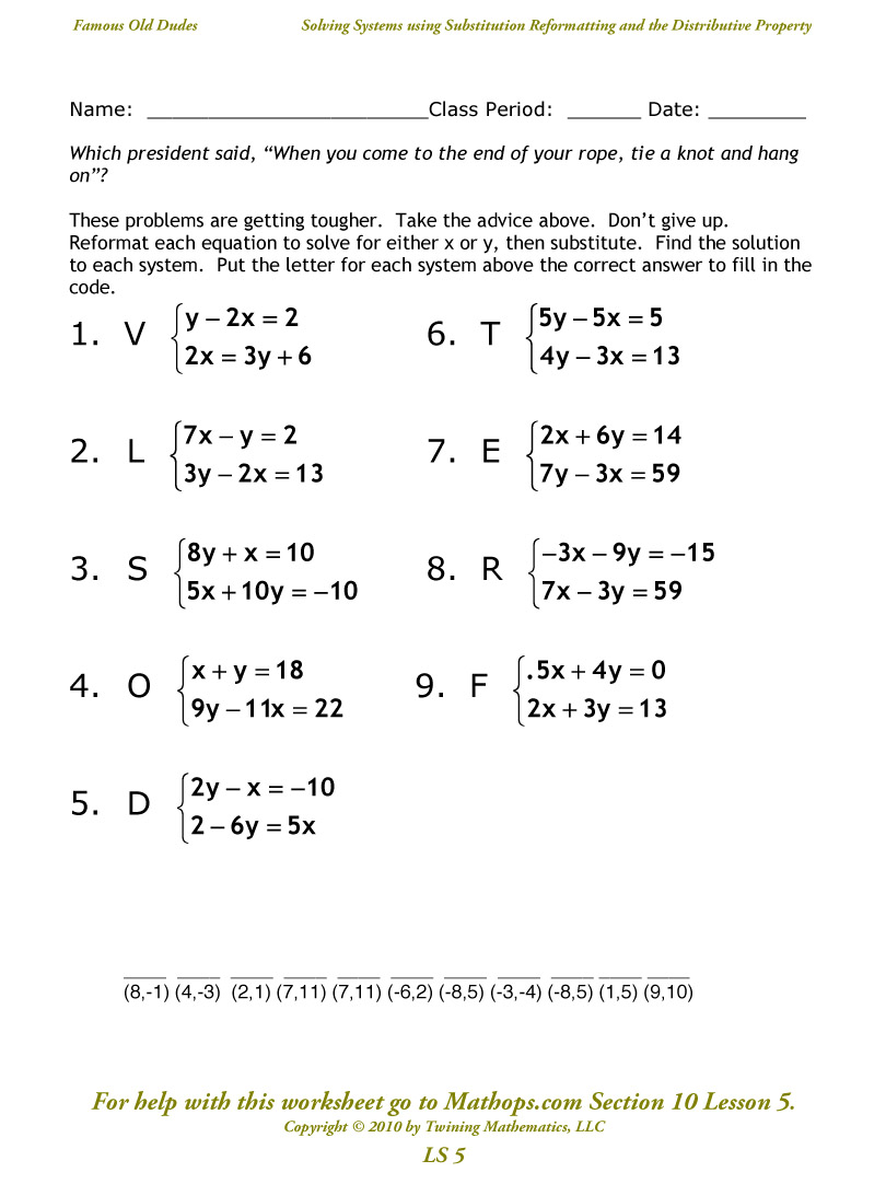 Solving Systems Of Equations Using Substitution Worksheet 1418148