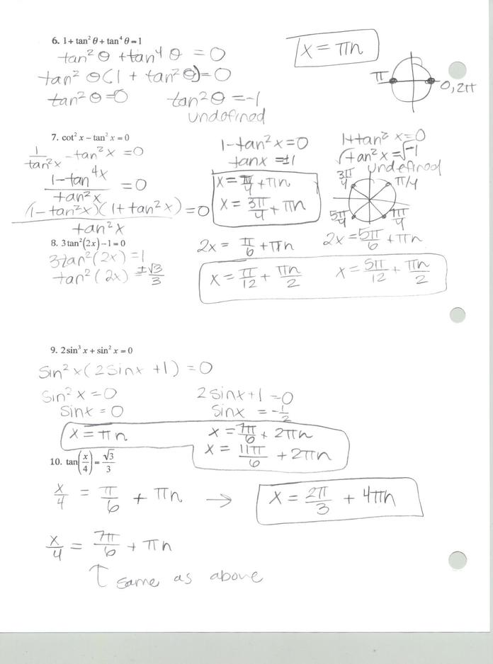Solving Trig Equations Answers