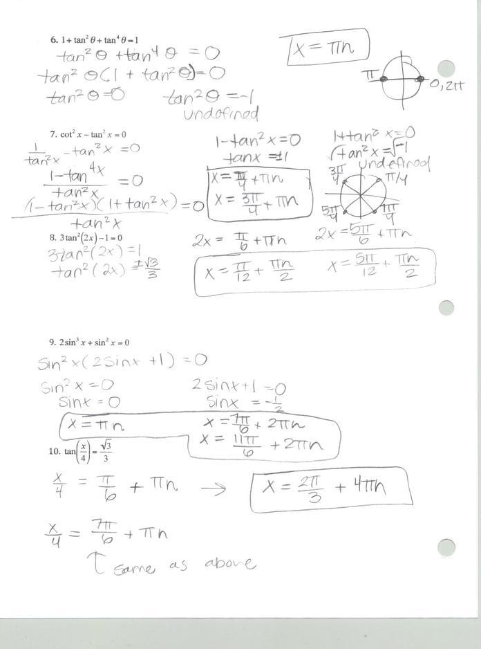 Precalculus 441 Solving Trigonometric Equations Worksheets Answers
