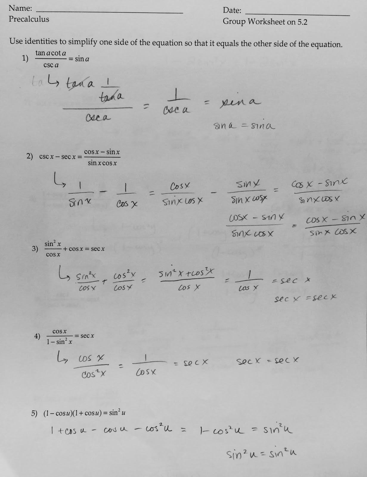 Solving Trigonometric Equations Worksheet Part 2