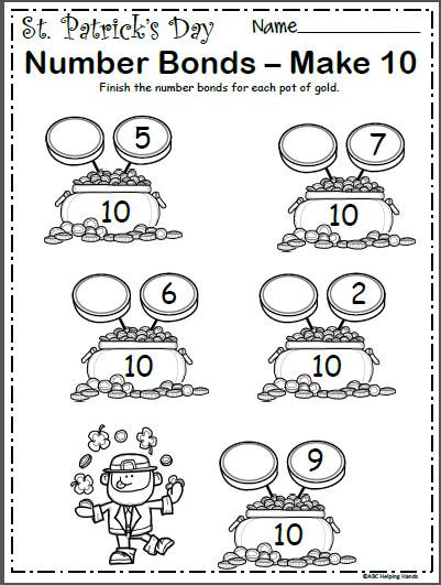 St  Patrick's Number Bonds Worksheet
