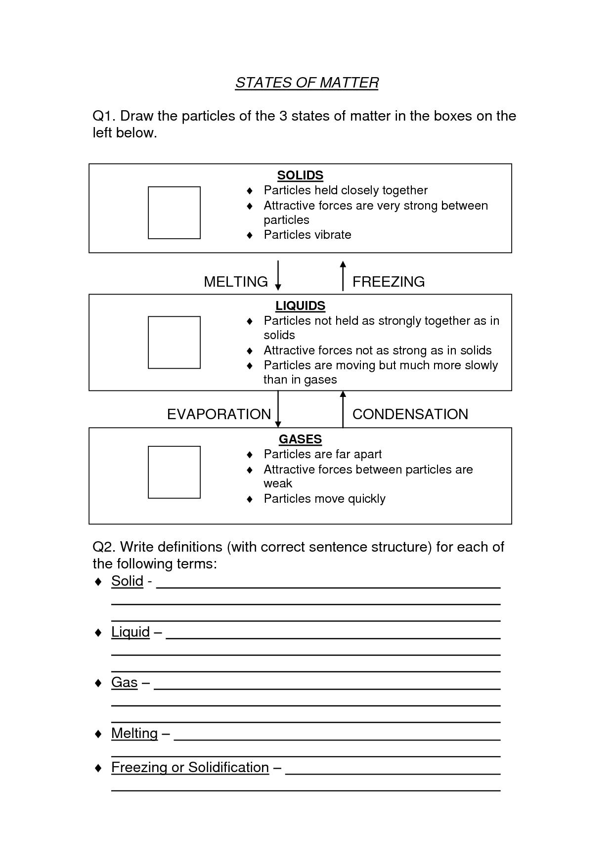 States Of Matter Worksheet High School Pdf  1140777