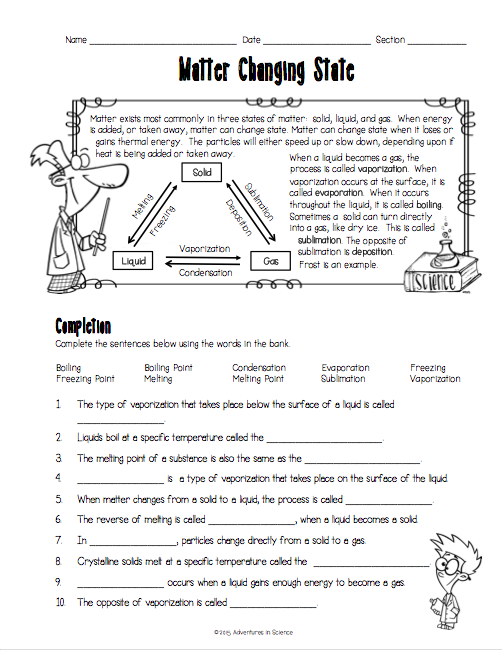 States Of Matter Worksheet Middle School  934852