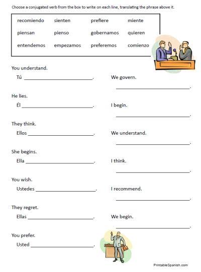 Stem Changing Verbs Worksheet