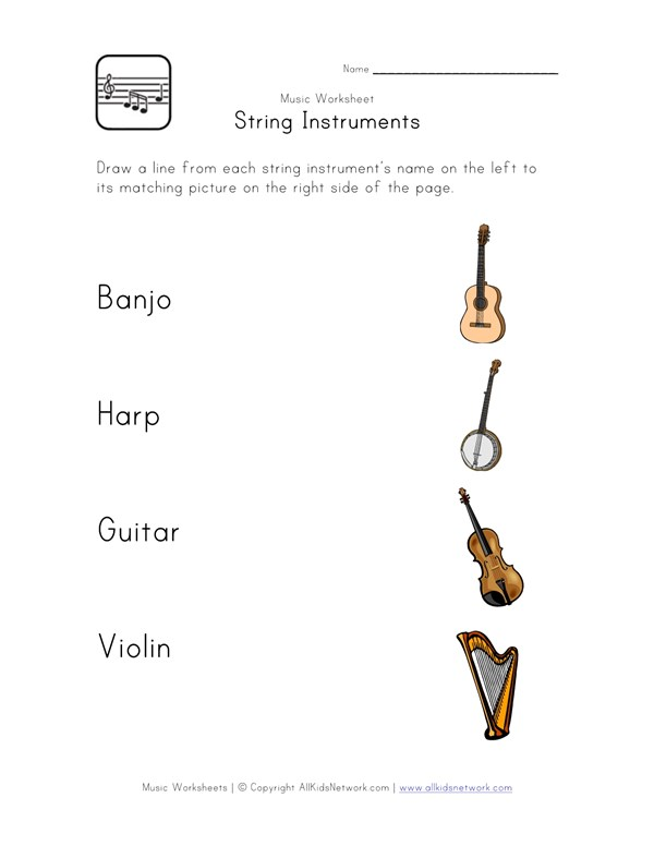 String Instruments Worksheet