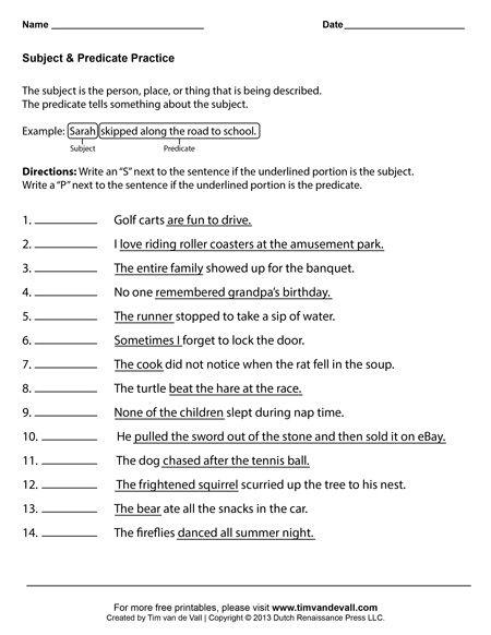 Subject And Predicate Worksheet  3