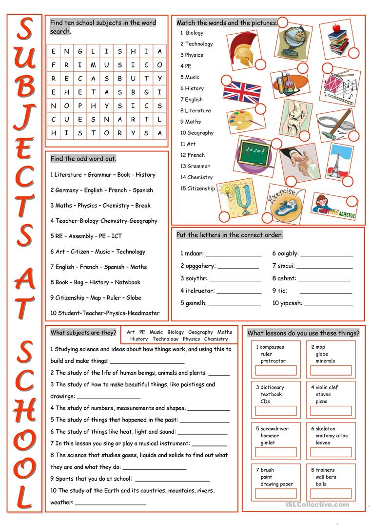 Subjects Worksheets 58982