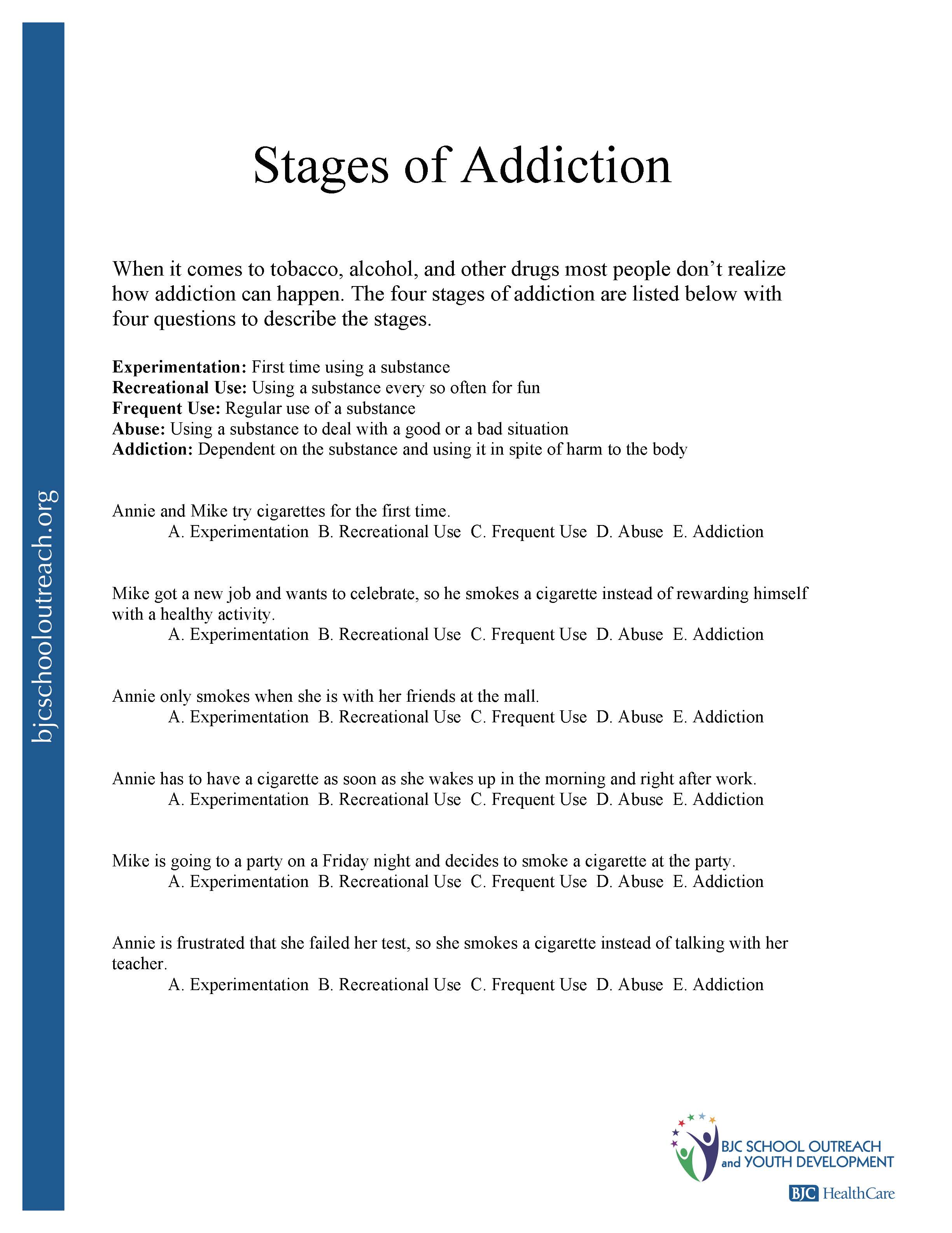 Substance Abuse Worksheets Humorholics, Substance Abuse Worksheets