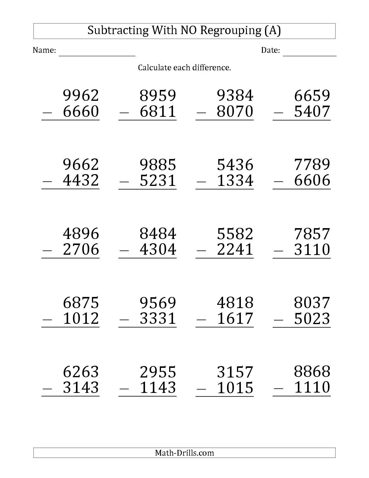 Subtracting 4 Digit Numbers Worksheets
