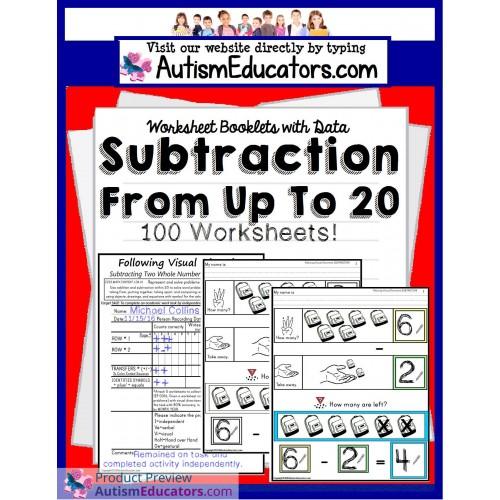 Subtraction Worksheets From 20 Following Visual Directions For
