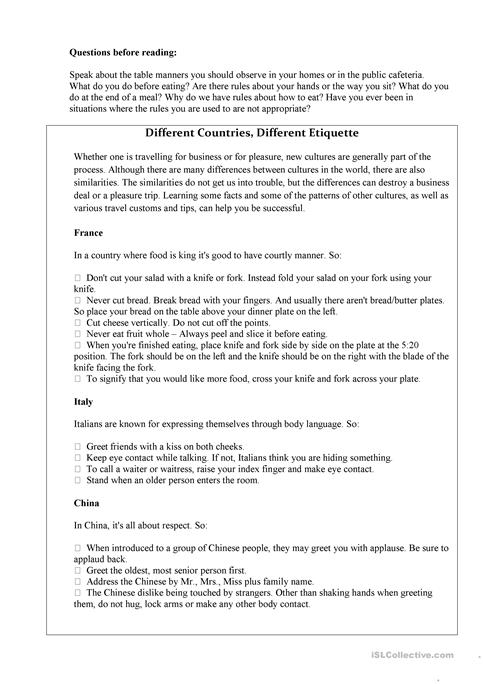 Table Manners Worksheet