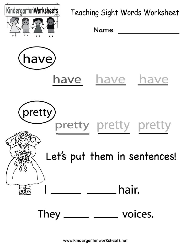 Teaching Worksheets For Kindergarten 432632