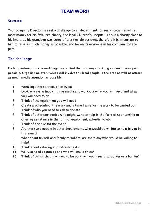 Teamwork Challenge Worksheet