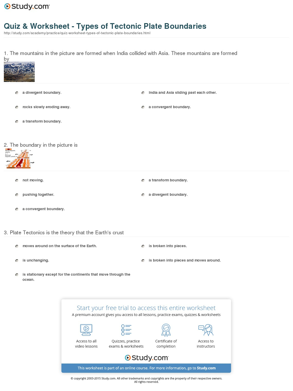 Tectonic Plate Worksheet 848811