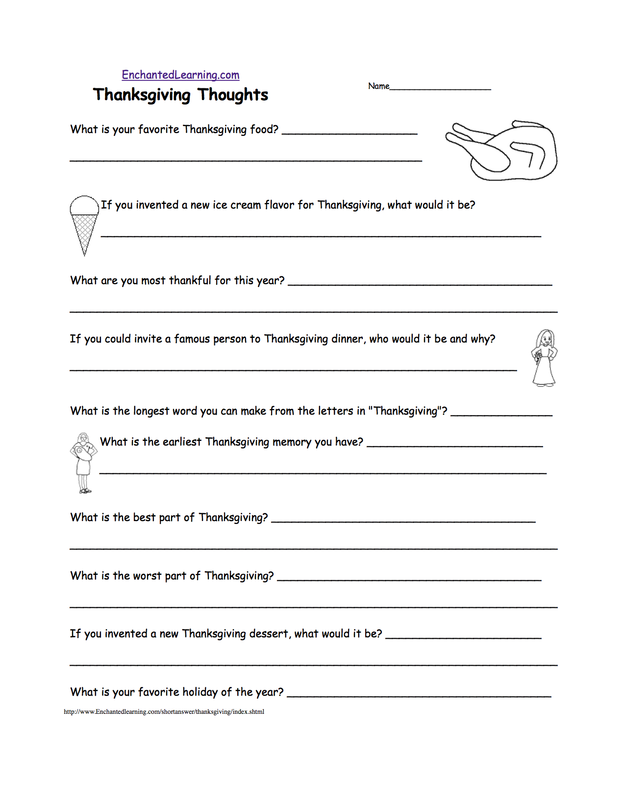 Thanksgiving Worksheets For Middle School 716646