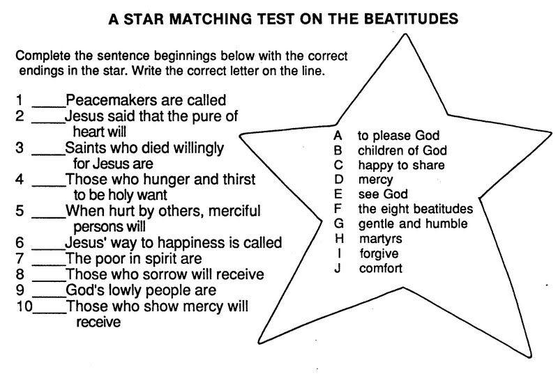 The Beatitudes Worksheet